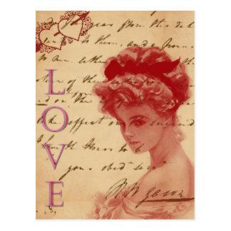Cartão antigo da carta de amor cartão postal