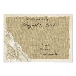Cartão antigo da resposta do país do laço convites