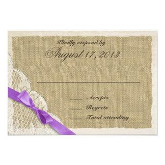 Cartão antigo da resposta do país do laço e da lav convites personalizados