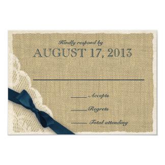 Cartão antigo da resposta do país do laço e do convite 8.89 x 12.7cm