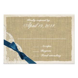 Cartão antigo da resposta do país do laço e do mar convites personalizado