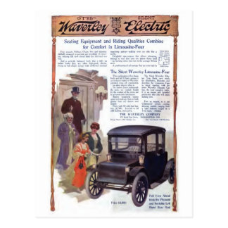 Cartão antigo do carro elétrico de Waverly do