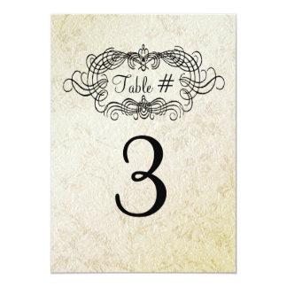 Cartão antigo elegante do número da mesa do convite 12.7 x 17.78cm