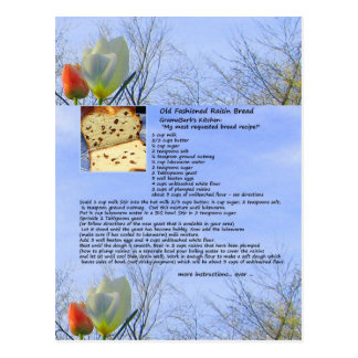 Cartão antiquado da receita do pão de passa
