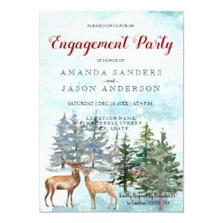Cartão Antlers da paisagem do inverno da festa de noivado
