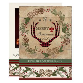 Cartão Antlers de madeira rústicos dos cervos do