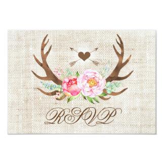 Cartão Antlers florais do país rústico que Wedding
