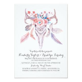 Cartão Antlers florais dos cervos das penas de Boho que