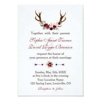 Cartão Antlers florais rústicos de Borgonha Marsala que