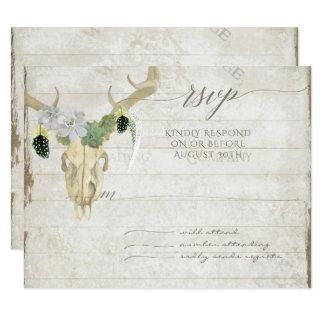 Cartão Antlers ocidentais minimalistas do crânio dos