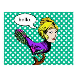 Cartão antropomórfico da menina do pássaro do