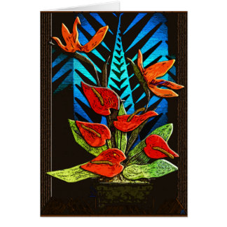 Cartão Antúrio do feriado - vermelho e verde vívidos mais
