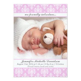 Cartão Anúncios cor-de-rosa do nascimento do bebé do