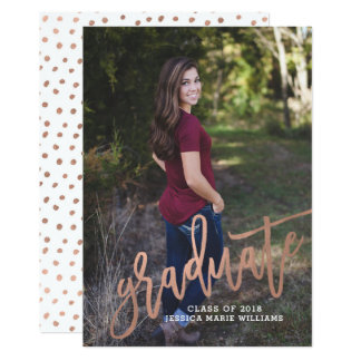 Cartão Anúncios cor-de-rosa Dotty da graduação do ouro
