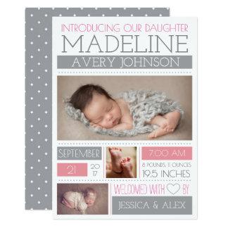 Cartão Anúncios dados boas-vindas do nascimento da