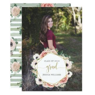 Cartão Anúncios florais chiques da graduação