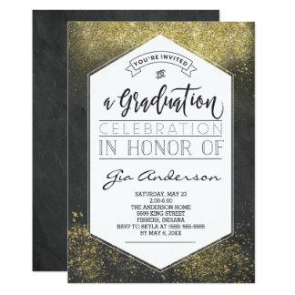 Cartão Anúncios modernos da celebração do formando do