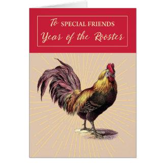 Cartão Ao ano novo chinês dos amigos de galo com ouro