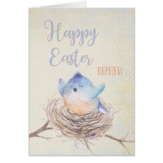 Cartão Ao pássaro azul do felz pascoa do sobrinho no