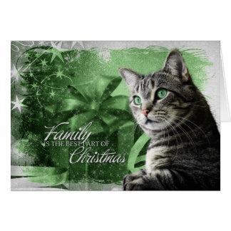 Cartão APAL - Gato de gato malhado de prata do Natal