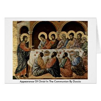 Cartão Aparência do cristo no comunhão por Duccio