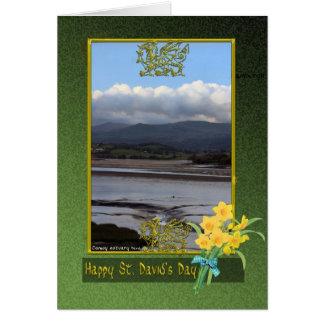 Cartão Apartamentos de lama dia de Wales do rio de Conwy,