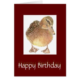 Cartão Apenas pássaro bonito do aniversário Ducky do