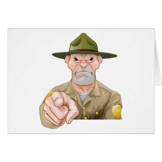 Cartão Apontar da guarda florestal de parque