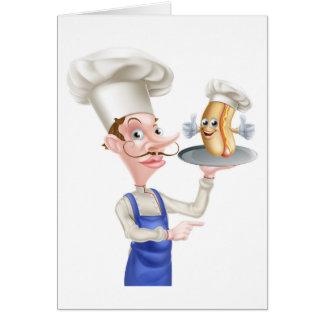 Cartão Apontar do cozinheiro chefe dos desenhos animados