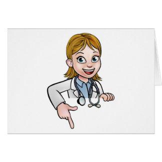 Cartão Apontar do doutor personagem de desenho animado da