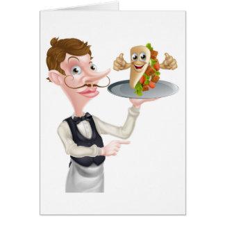 Cartão Apontar e Kebab do garçom dos desenhos animados