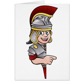Cartão Apontar romano do soldado