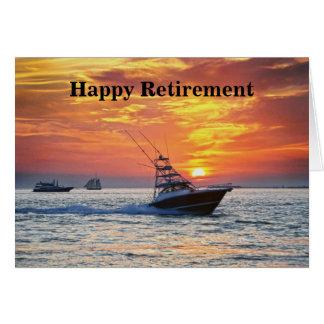 Cartão Aposentadoria feliz, barco de pesca, Florida, por