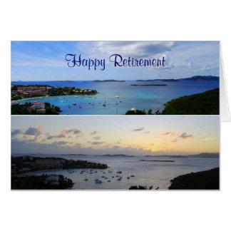 Cartão Aposentadoria feliz, colagem da baía de Cruz, St