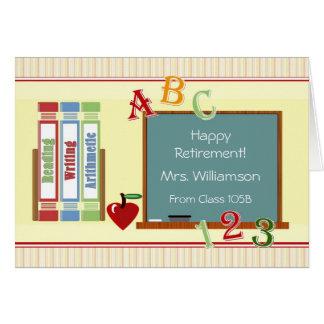 Cartão Aposentadoria feliz do professor dos estudantes