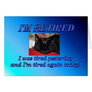 Cartão Aposentadoria feliz que deixa o gato do sono do