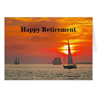 Cartão Aposentadoria feliz, veleiros, Florida, por do sol