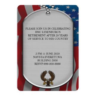 Cartão Aposentadoria militar do estilo do dog tags