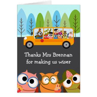 Cartão Apreciação bonito do professor do auto escolar das