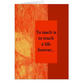 Cartão Apreciação Gard de cumprimento do professor