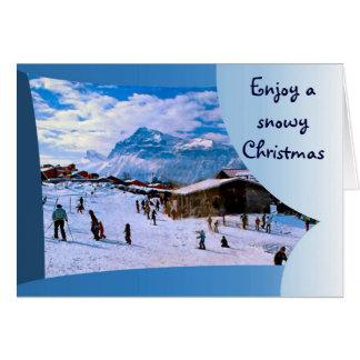 Cartão Aprecie um Natal nevado nos cumes franceses 1