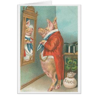 """Cartão """"Apronte para porco do vintage do comensal"""""""