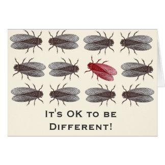 Cartão APROVAÇÃO de I'ts a ser diferente - mosca de fruta