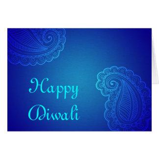 Cartão Aqua elegante Paisley azul Diwali feliz