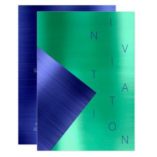 Cartão Aqua metálico dos azuis cobaltos do evento da