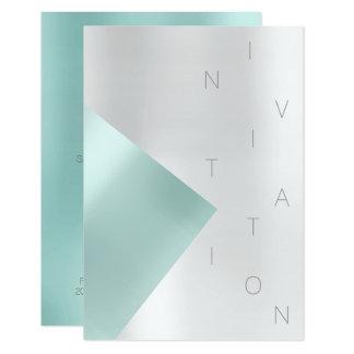 Cartão Aqua metálico Tiffany do evento da forma do