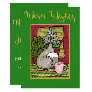 Cartão Aqueça desejos gato & Natal personalizado gemada
