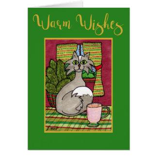 Cartão Aqueça o gato dos desejos & o Natal quente do