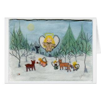 """Cartão """"Aqueles """"cervos"""" anjos pequenos """""""
