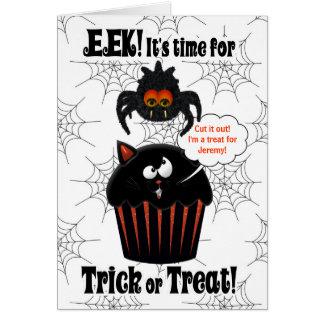 Cartão Aranha bonito e cupcake | o Dia das Bruxas feito